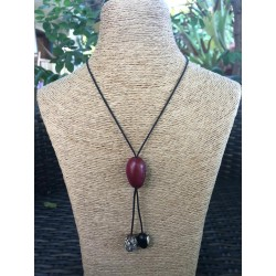 Collier modulable framboise palmier Bengale